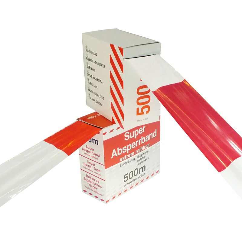 a 500 m ABSPERRBAND rot-weiß Warnband Flatterband Karton Begrenzungsband 2 Rol