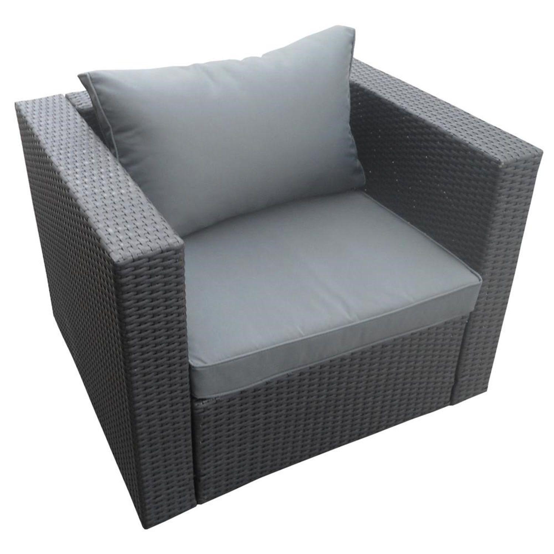 Detalles de Poly Rattan Muebles de Jardín Sillón Nj Antracita Sofá Grupo  Gartenset Aluminio