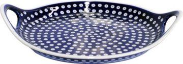 Bunzlauer Keramik Kuchenplatte mit Henkel Ø33,5cm Dekor 41 Serviertablett Orig