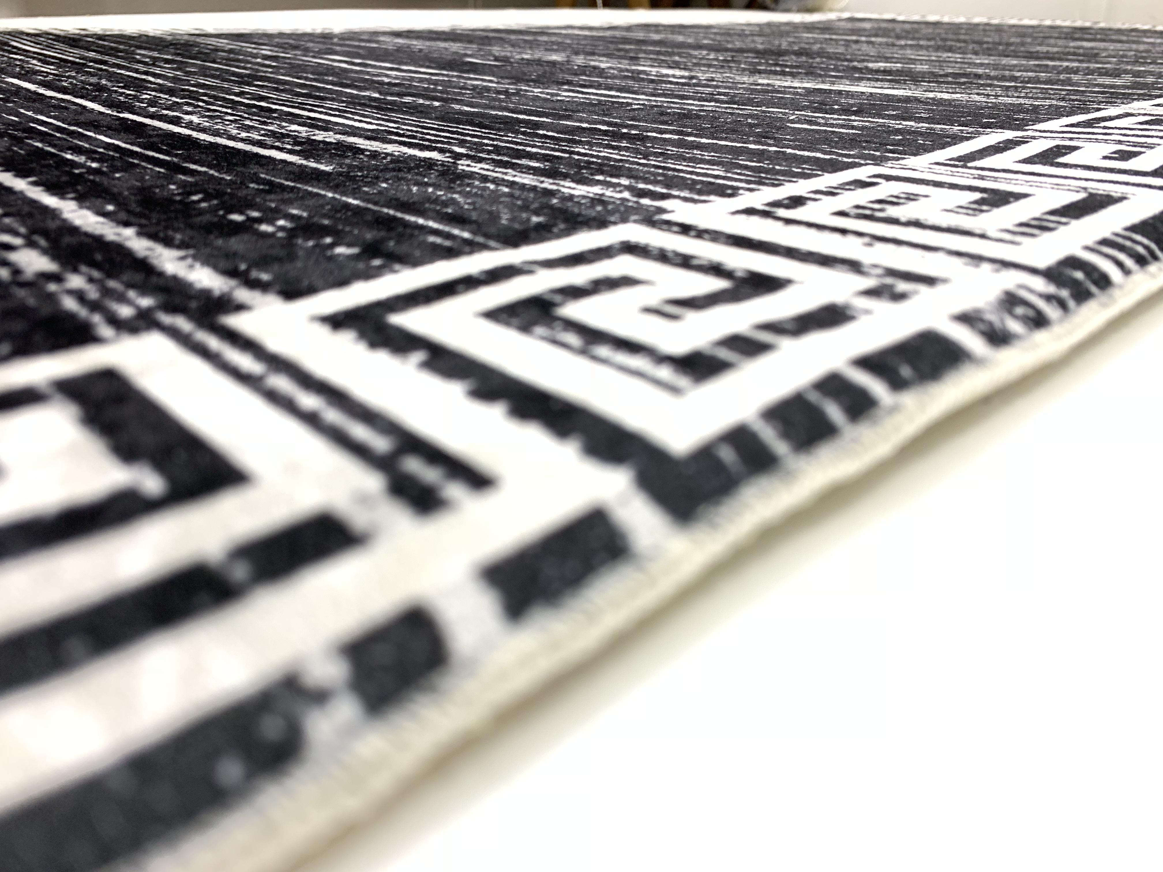 Teppich Waschbar Schwarz Grau Versace Muster Wohnzimmer Edel