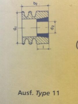 Buchse 1108 mit 20 mm Bohrung 71120 Keilriemenscheibe Riemenscheibe SPZ 71 x 1