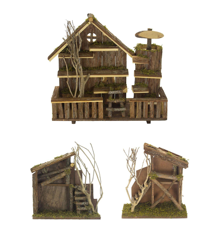 Holz Hütte Offen Gartendeko Tierhotel Krippe Holzhaus Holzhütte