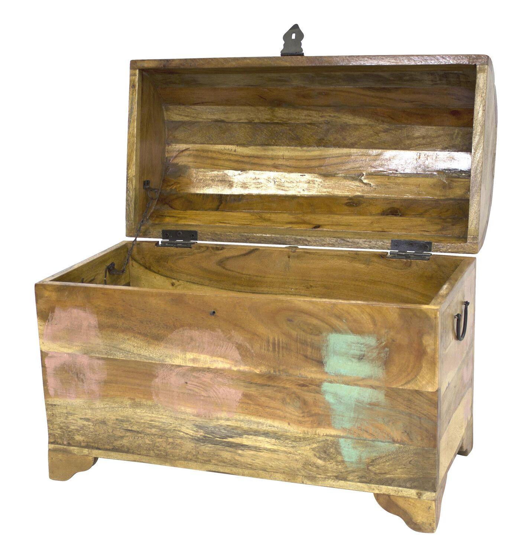 Truhe Holztruhe Holzbox Schatztruhe antik rund Aufbewahrungsbox  Neu
