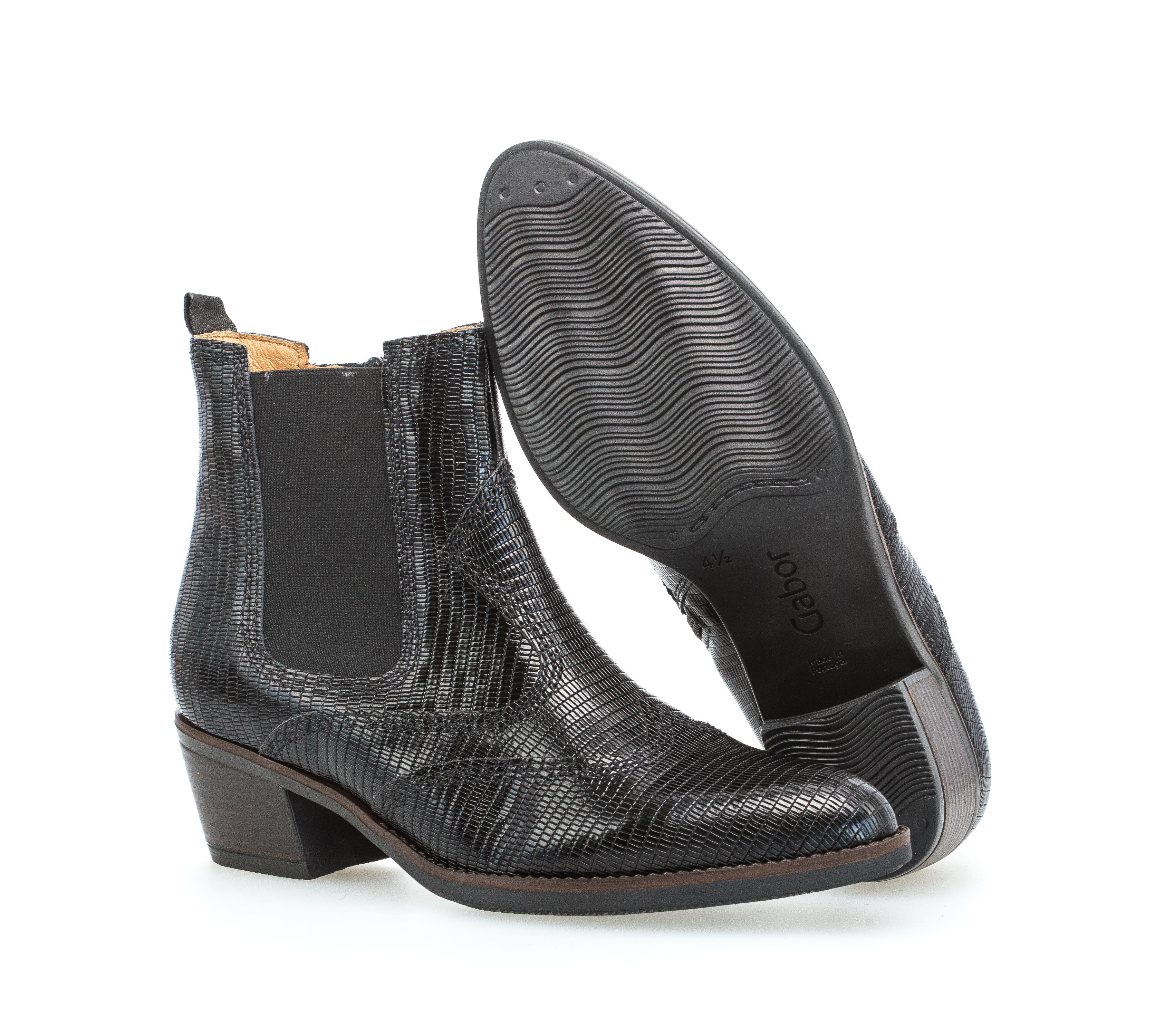 Details zu Gabor Damen Stiefelette Chelsea Boot Leder Reißverschluss schwarz Gr. 40 NEU