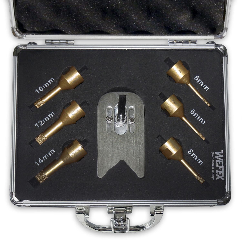 WEFEX Diamant-Fliesenbohrkrone Vakuum Premium 80 mm M14 f/ür harte Fliesen Granit Feinsteinzeug Naturstein