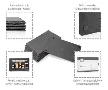 Sänger Schiefer Platten Set Tisch Untersetzer Servierplatten 6 teilig 20 x 30 cm