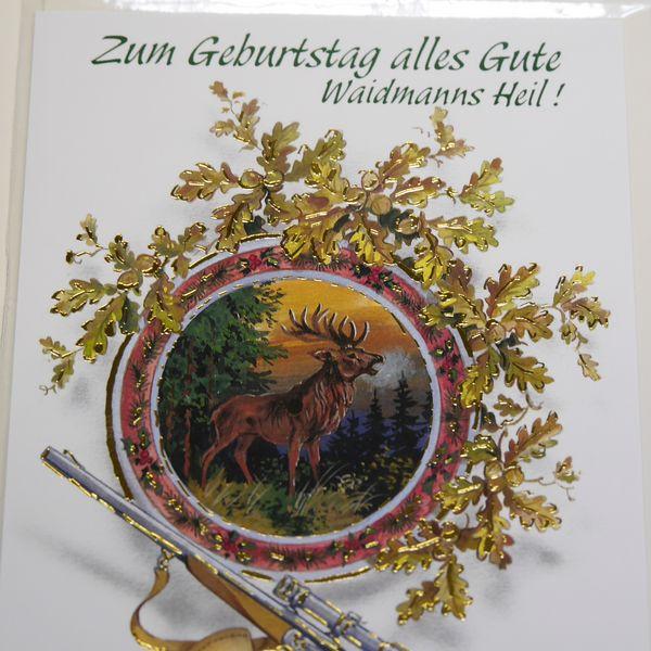 Zum Geburtstag Geburtstagskarte Jäger Jagd Hirsch wild mit grünem Umschlag