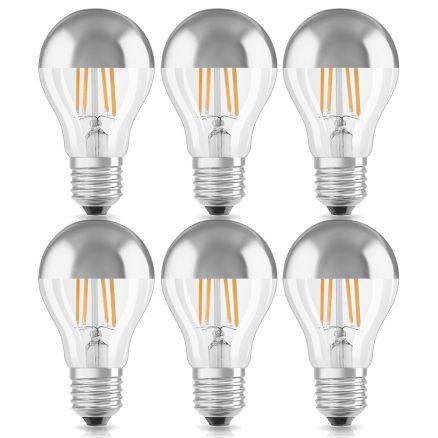 6 x osram led leuchtmittel birnenform kopfspiegellampe 7w 60w e27 silber warm ebay. Black Bedroom Furniture Sets. Home Design Ideas
