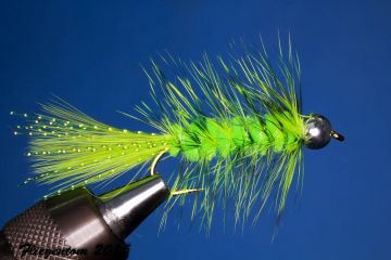 Fliegentom Streamer 3 Stück Wooley Bugger mit Kopfperle weiß Krystal