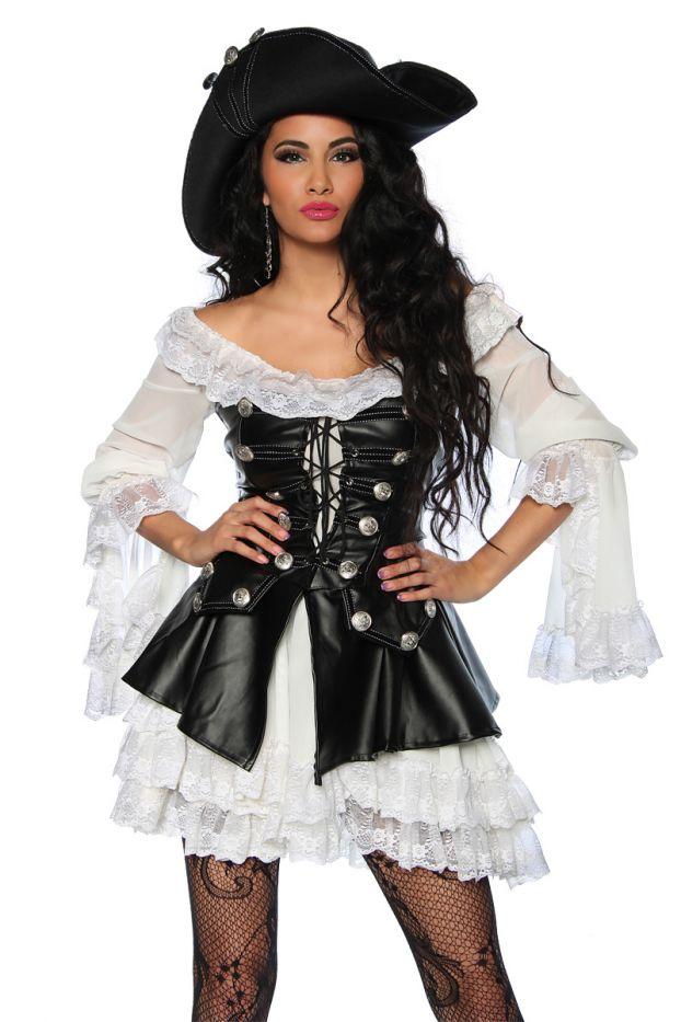Sexy Piratenkostum Mit Hut 4 Tlg Damen Halloween Fasching Karneval