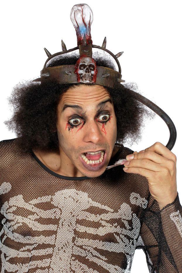 0bd3b1ceadfeef Elektrischer Stuhl Hut Kopfbedeckung Skelett Lampe zum Kostüm Halloween  Karneval