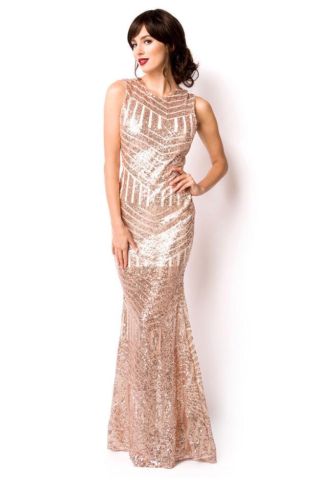 Abendkleid Kleid Damen Gold Pailletten Paillettenkleid ...