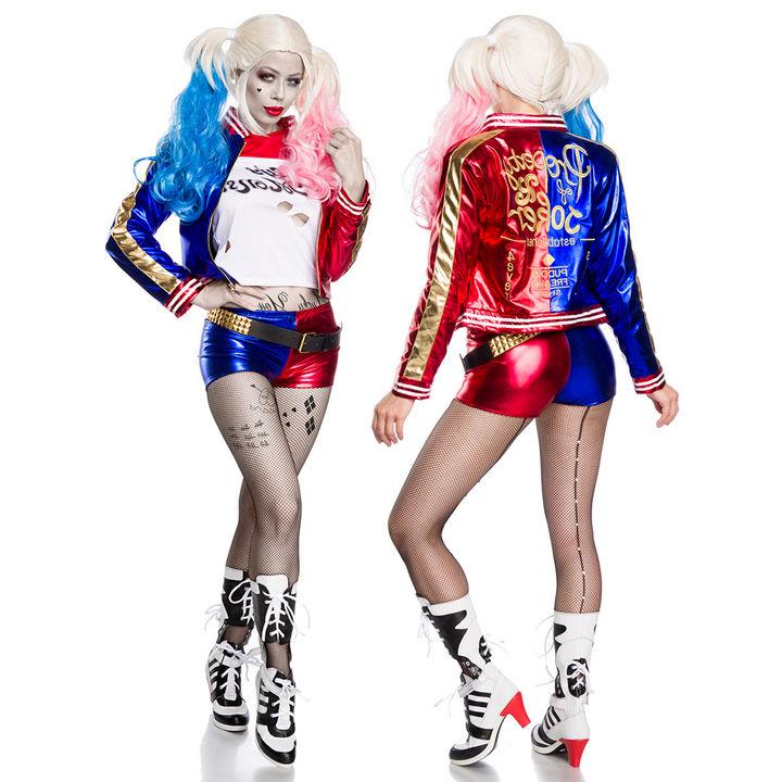 5 Tlg Harley Quinn Suicide Squad Kostum Damen Joker Cosplay