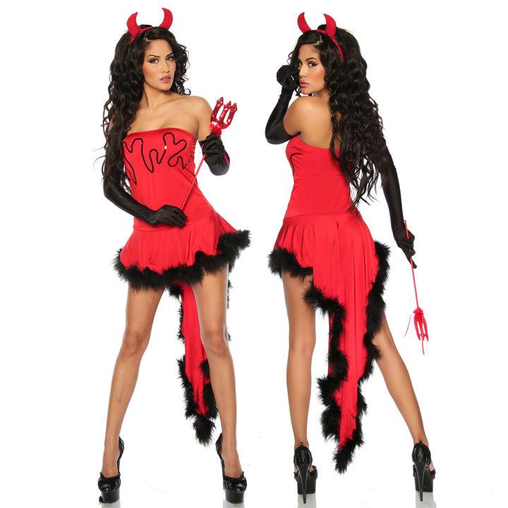 Teufelskostüm Kostüm Teufel Teufelin Damen Set Kleid Halloween