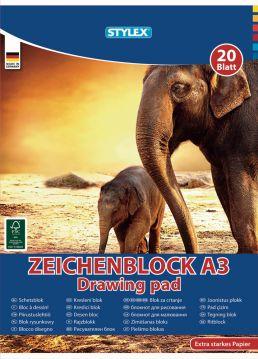 STYLEX Zeichenblock DIN A3 20 Blatt 120 g//m² Malblock Block Zeichenpapier Papier
