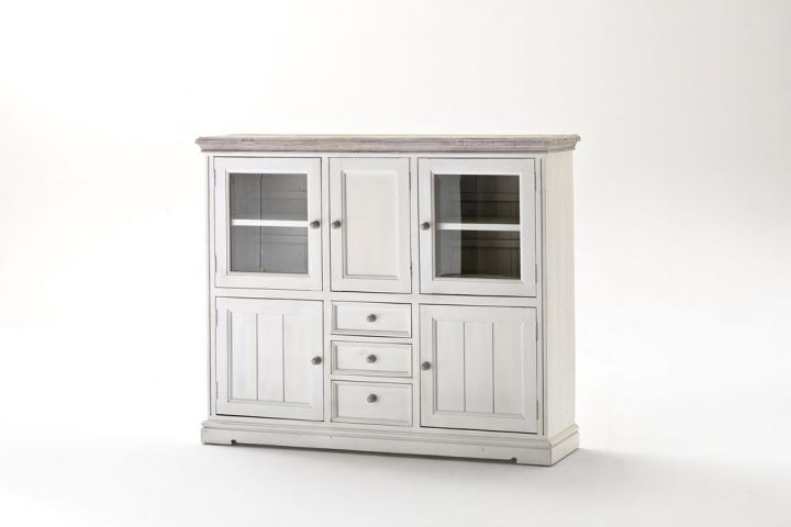Highboard Opus Vitrine Buffet Schrank in Kiefer Massiv weiß im ...
