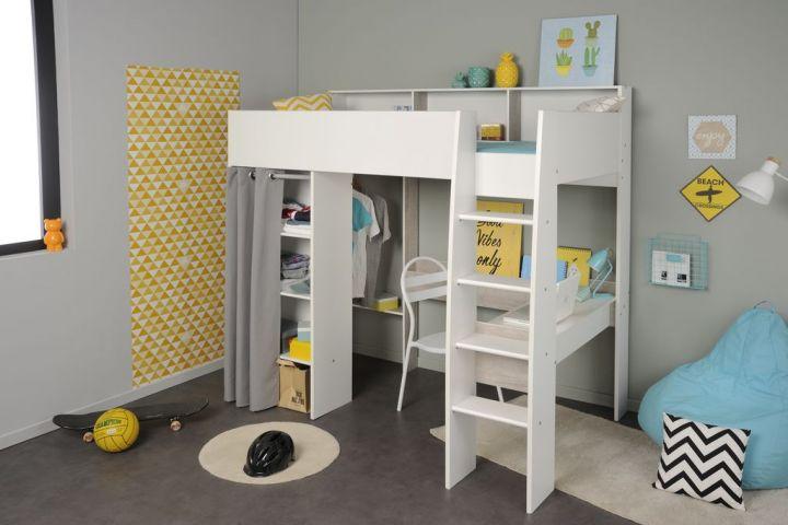 Hochbett 90 X 200 Cm Mit Integriertem Kleiderschrank Schreibtisch
