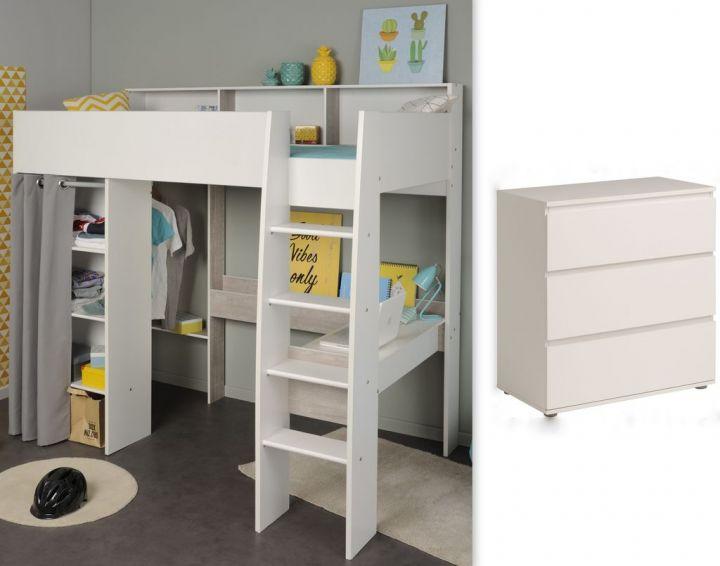Hochbett Mit Integriertem Schreibtisch Kleiderschrank Und Eine