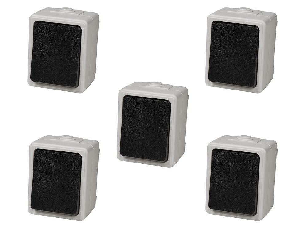 "5x Feuchtraum Steckdose /""Taff/"" Aufputz AP 250V 10A IP44 Steckdosen Set Rahmen"