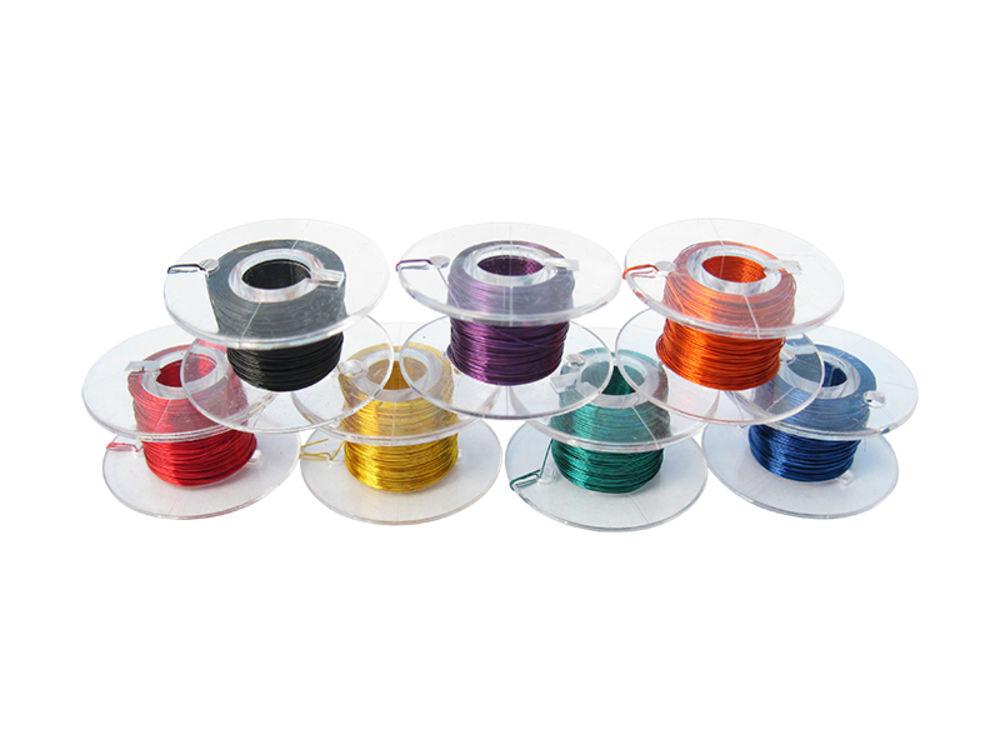 S436-7x 100 Meter Kupferlackdraht 0,1mm 7 Farben Set Lackdraht CU-Draht Spule