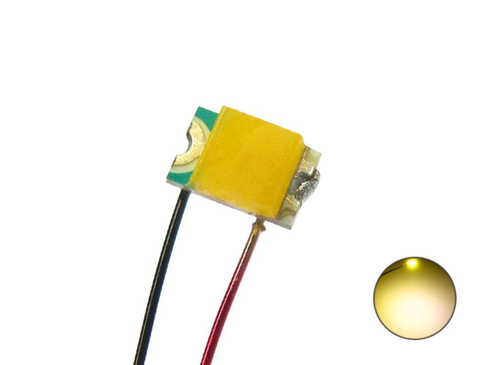 10 Stück SMD LED 0805 grün mit 15cm Kupferlackdraht Draht Kabel Miniatur LEDs