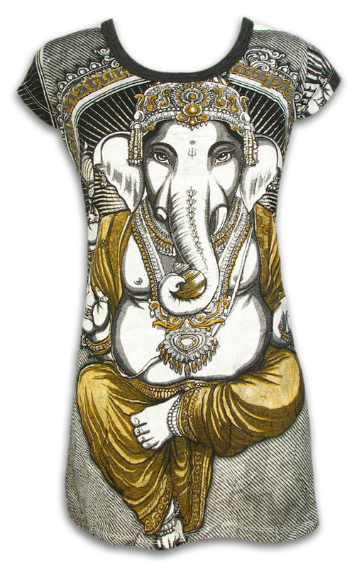 SURE Damen Tunika Kleid Long Shirt Buddha Buddhismus Goa Psychedelic Yoga S M L