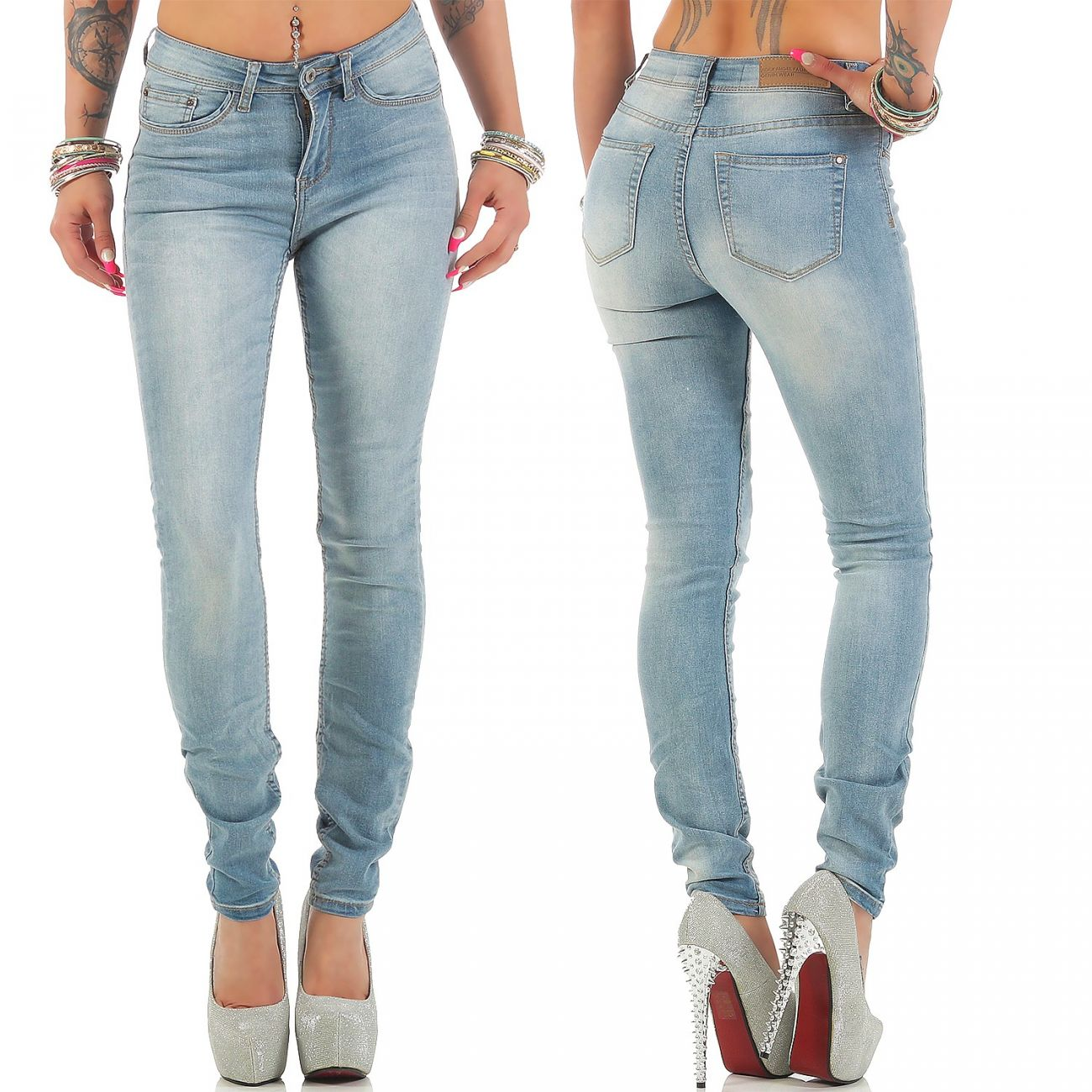 Angels Stone Washed Regular Fit Jeans Hose Stretch Freizeit Damen