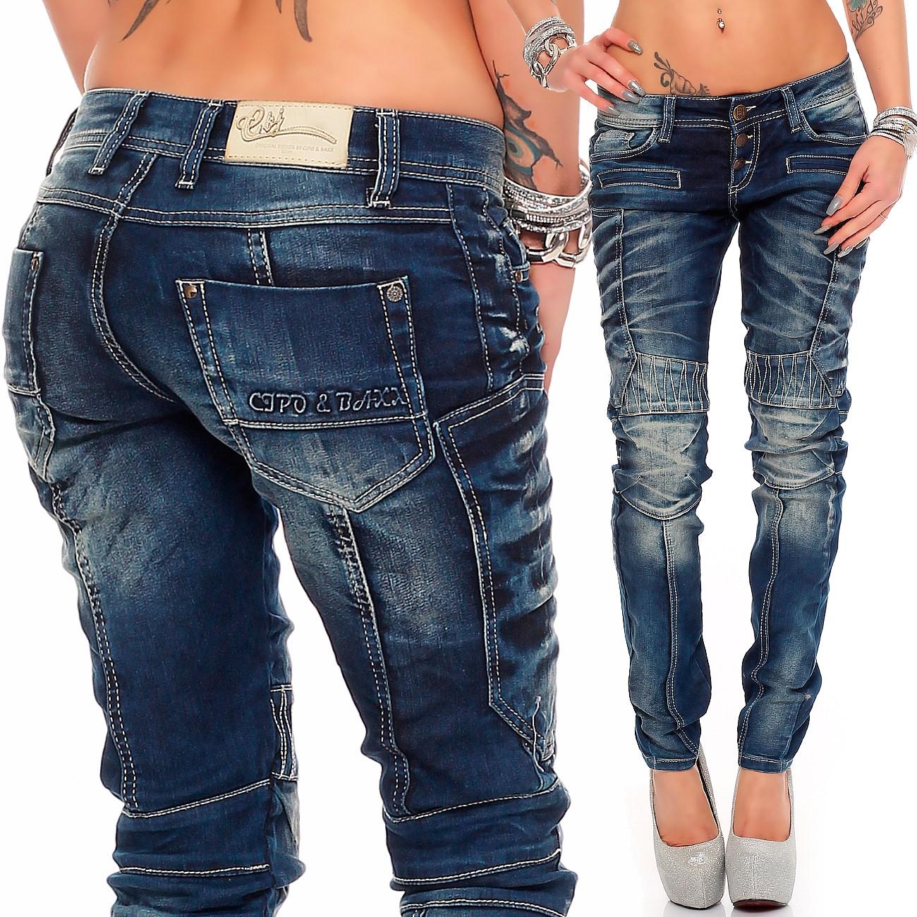 Verschiedene-Cipo-amp-Baxx-Damen-Jeans-Hosen-Slim-Fit-Regular-Fit-Streetwear Indexbild 35