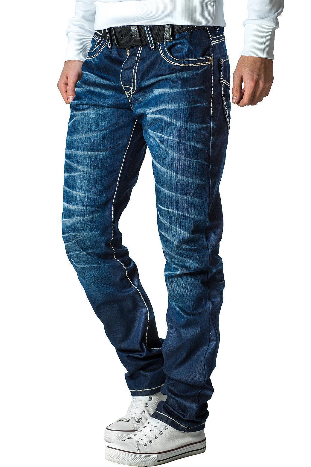 Cipo-amp-Baxx-Uomo-Jeans-Pantaloni-ricamate-Biker-Style-streetwear-nervature-pattern-Dope miniatura 17