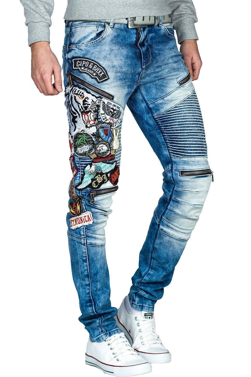 Cipo-amp-Baxx-Uomo-Jeans-Pantaloni-ricamate-Biker-Style-streetwear-nervature-pattern-Dope miniatura 37
