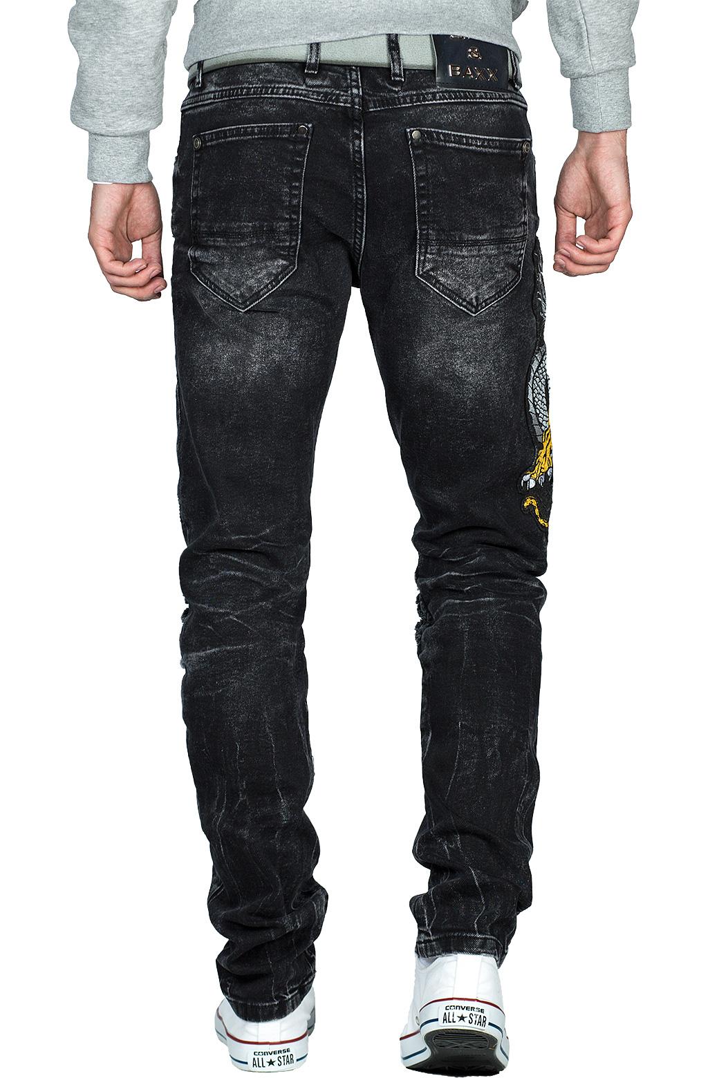 Cipo-amp-Baxx-Uomo-Jeans-Pantaloni-ricamate-Biker-Style-streetwear-nervature-pattern-Dope miniatura 4