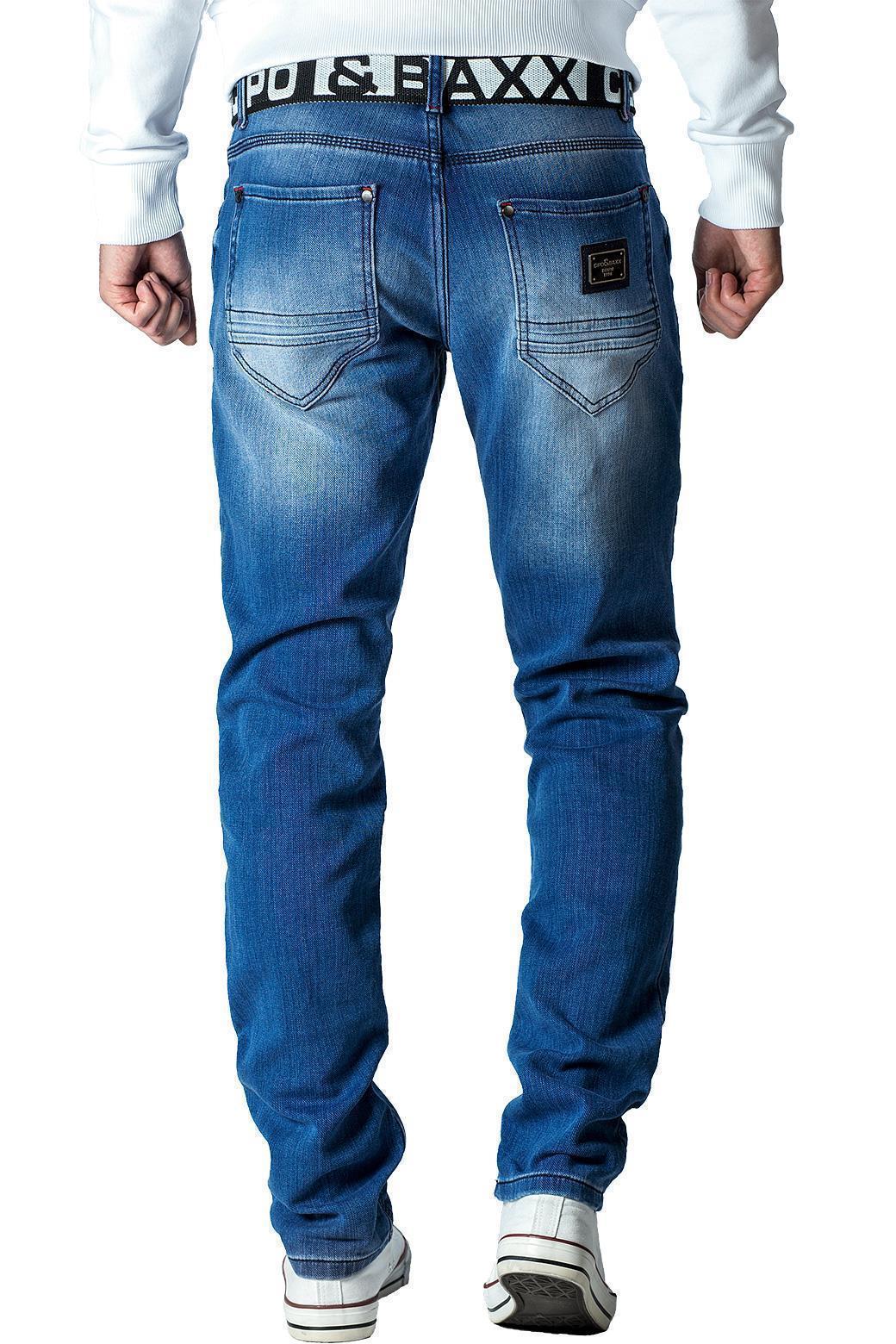 Cipo-amp-Baxx-Uomo-Jeans-Pantaloni-ricamate-Biker-Style-streetwear-nervature-pattern-Dope miniatura 20