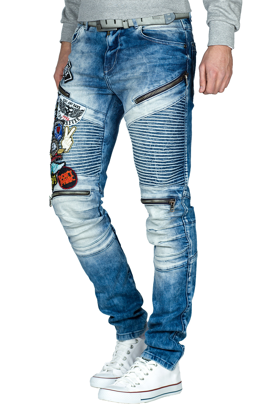 Cipo-amp-Baxx-Uomo-Jeans-Pantaloni-ricamate-Biker-Style-streetwear-nervature-pattern-Dope miniatura 36