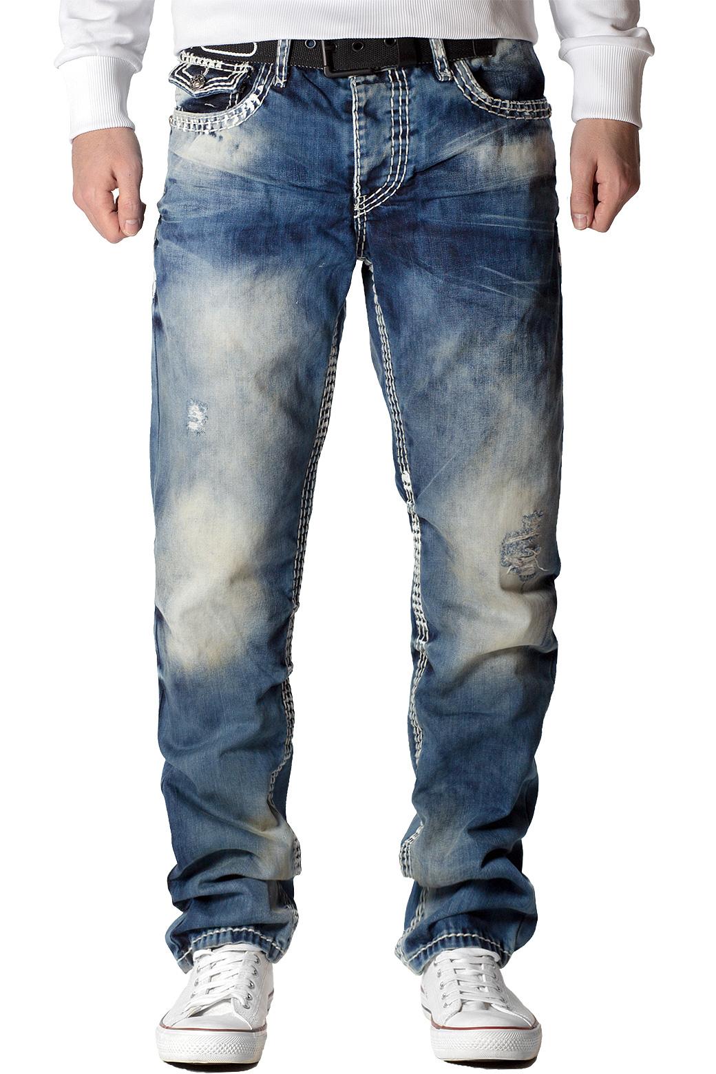 Cipo-amp-Baxx-Uomo-Jeans-Pantaloni-ricamate-Biker-Style-streetwear-nervature-pattern-Dope miniatura 9