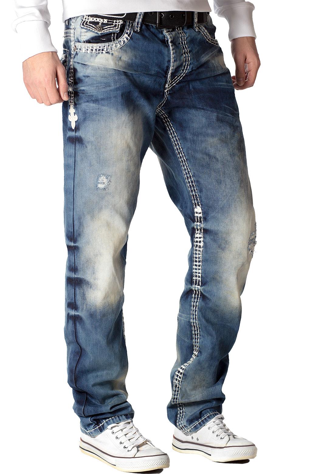 Cipo-amp-Baxx-Uomo-Jeans-Pantaloni-ricamate-Biker-Style-streetwear-nervature-pattern-Dope miniatura 12