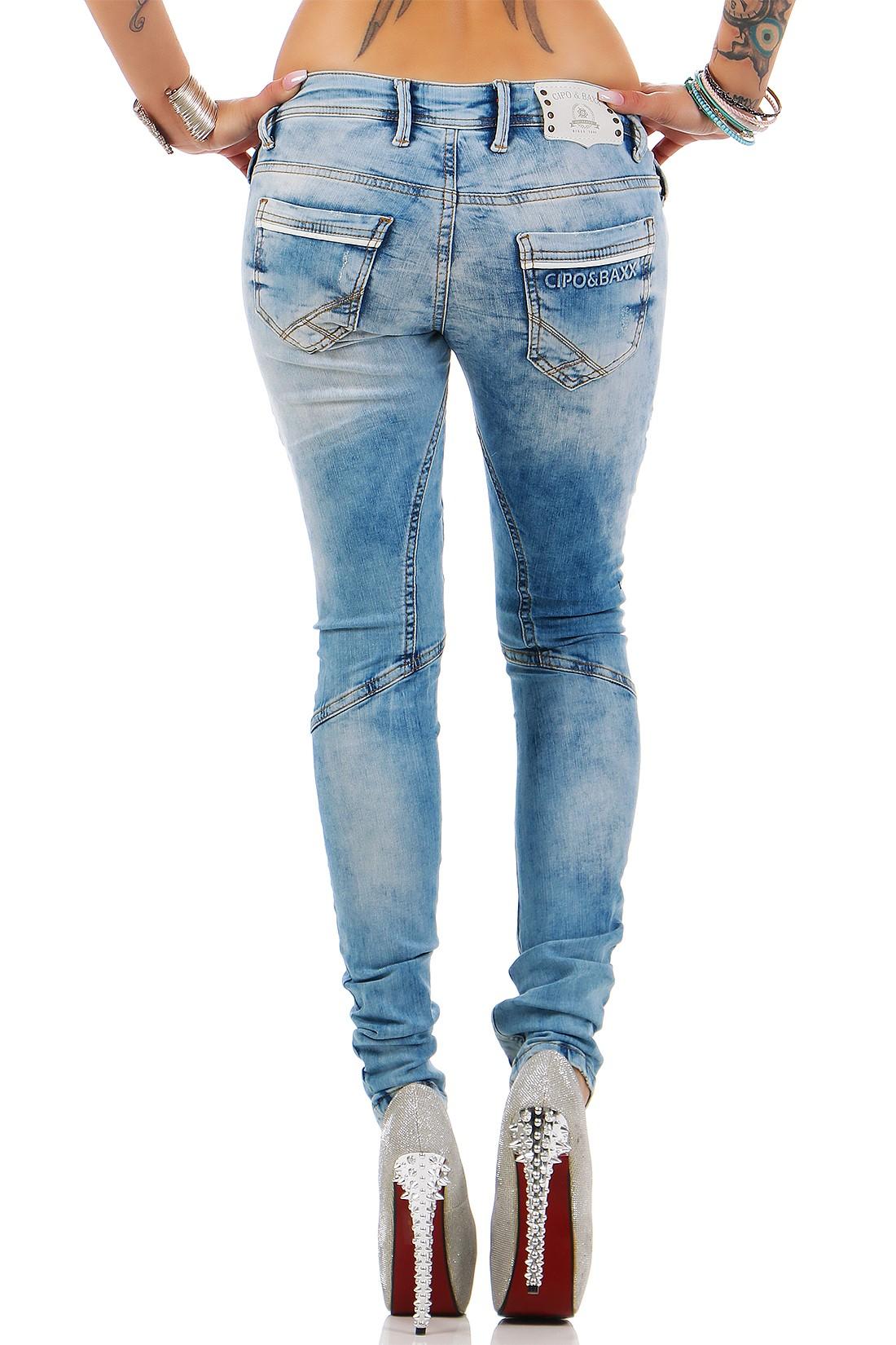 Verschiedene-Cipo-amp-Baxx-Damen-Jeans-Hosen-Slim-Fit-Regular-Fit-Streetwear Indexbild 52