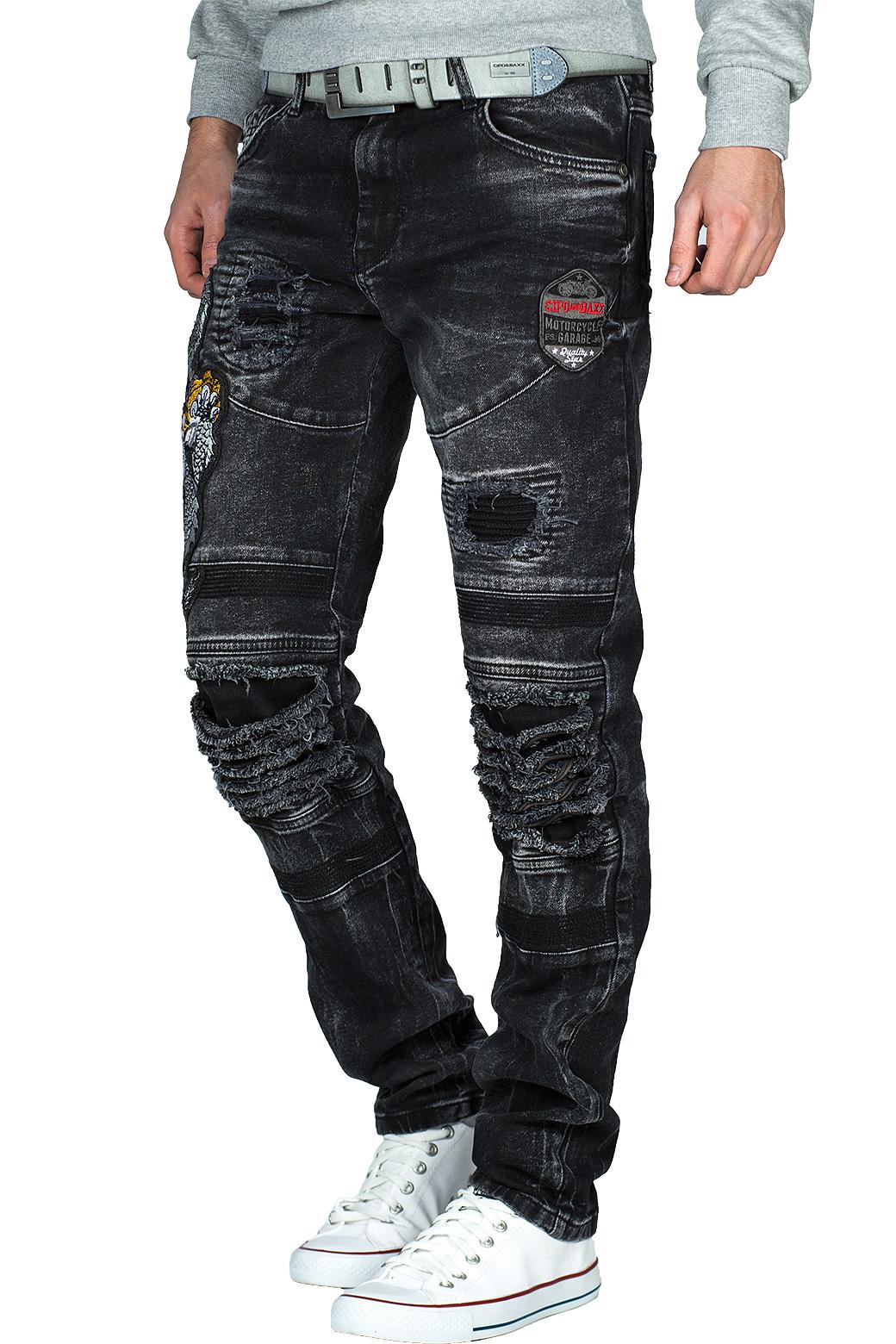 Cipo-amp-Baxx-Uomo-Jeans-Pantaloni-ricamate-Biker-Style-streetwear-nervature-pattern-Dope miniatura 5