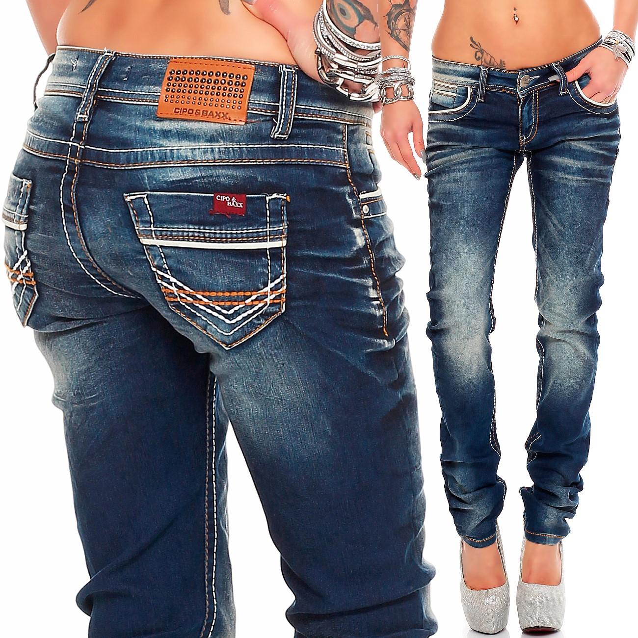Verschiedene-Cipo-amp-Baxx-Damen-Jeans-Hosen-Slim-Fit-Regular-Fit-Streetwear Indexbild 30