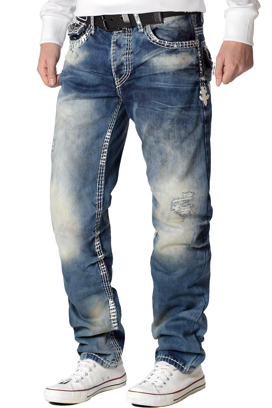 Cipo-amp-Baxx-Uomo-Jeans-Pantaloni-ricamate-Biker-Style-streetwear-nervature-pattern-Dope miniatura 11