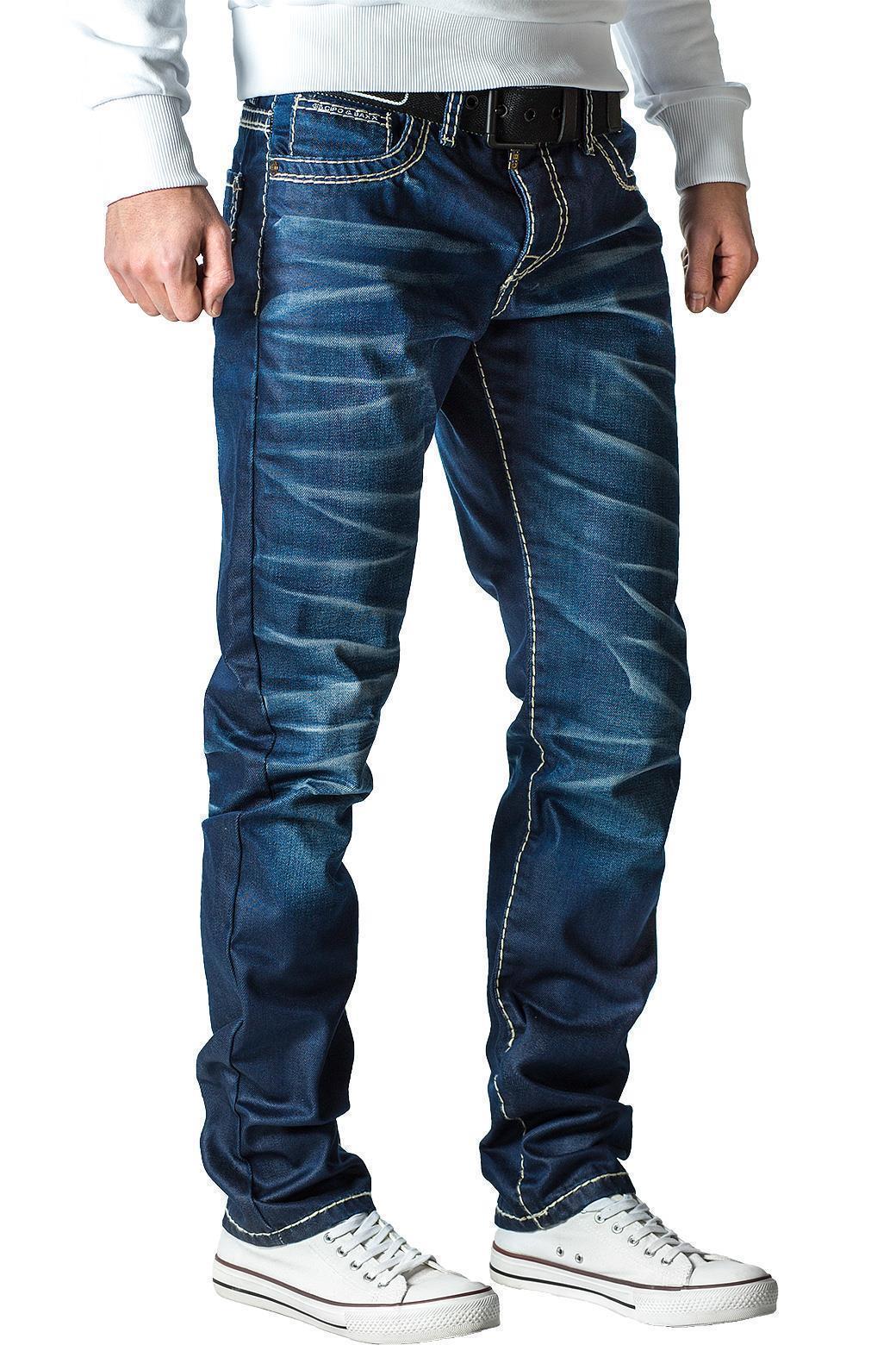 Cipo-amp-Baxx-Uomo-Jeans-Pantaloni-ricamate-Biker-Style-streetwear-nervature-pattern-Dope miniatura 16