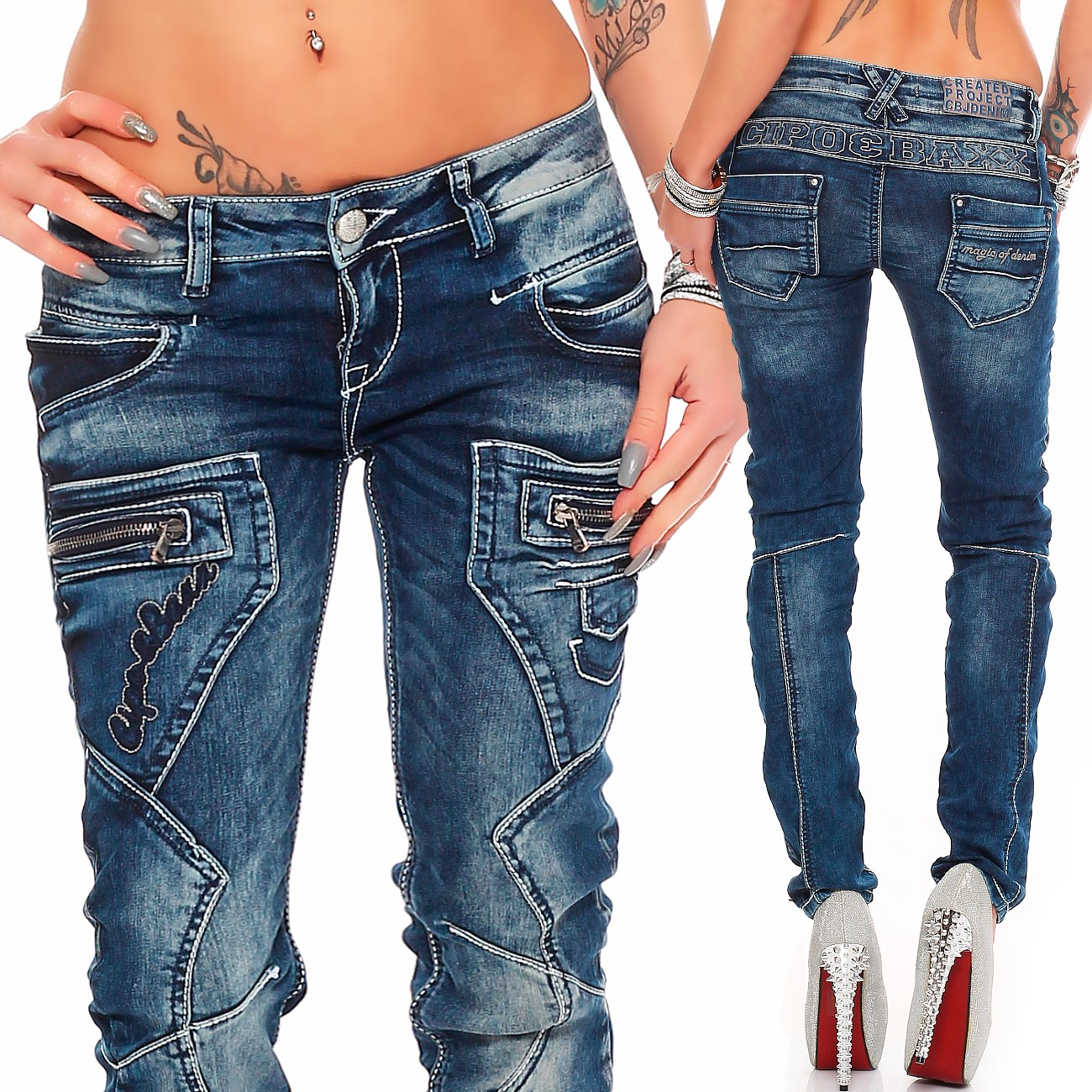 Verschiedene-Cipo-amp-Baxx-Damen-Jeans-Hosen-Slim-Fit-Regular-Fit-Streetwear Indexbild 25