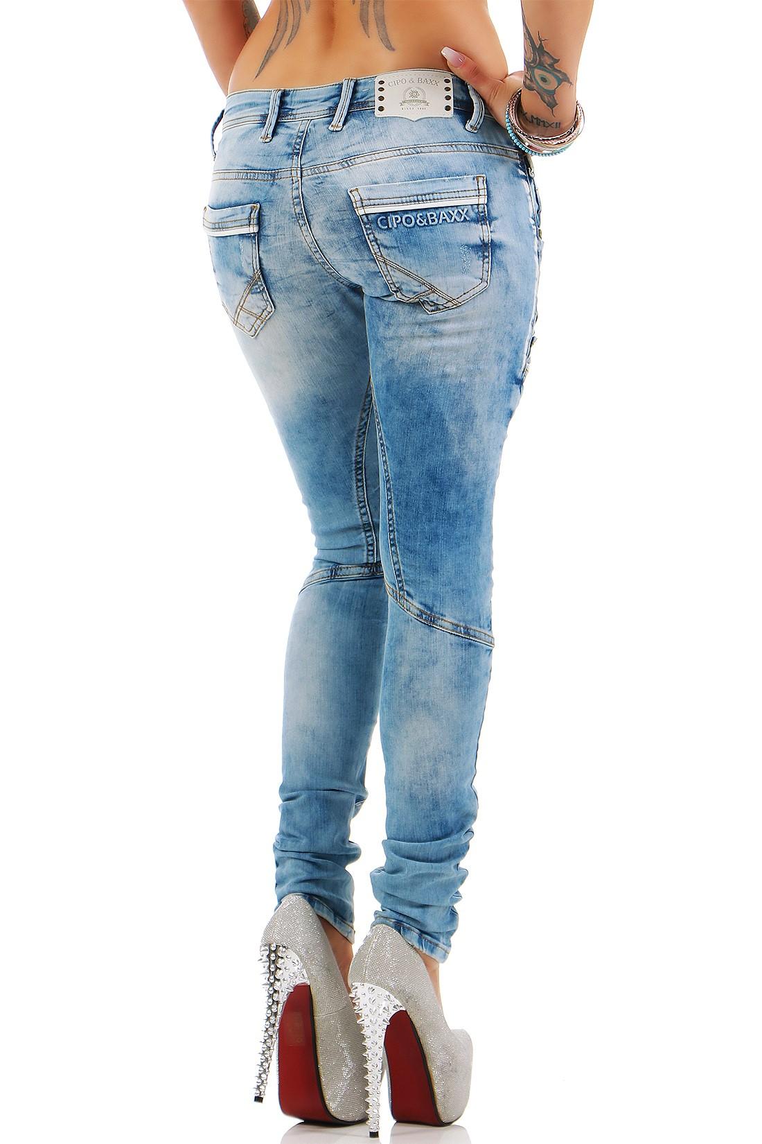 Verschiedene-Cipo-amp-Baxx-Damen-Jeans-Hosen-Slim-Fit-Regular-Fit-Streetwear Indexbild 53