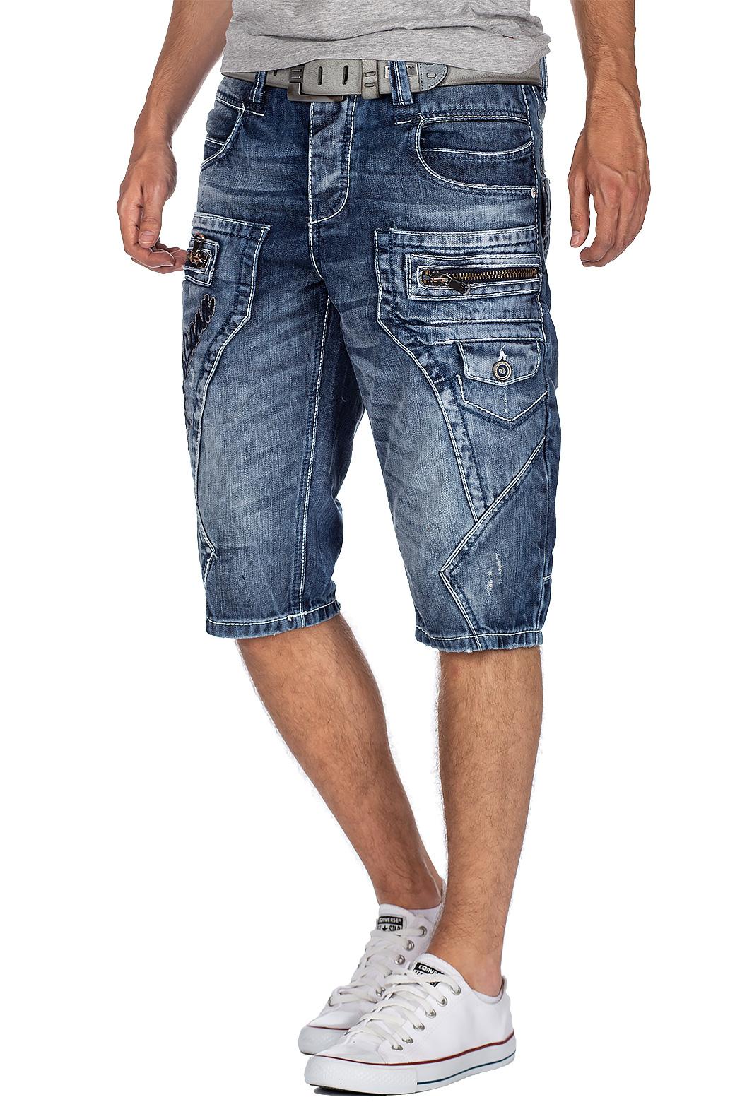 Herren Bermuda Shorts Hell Stretch Jeans Kurz Capri Hose Weiß Sommer Denim Pants