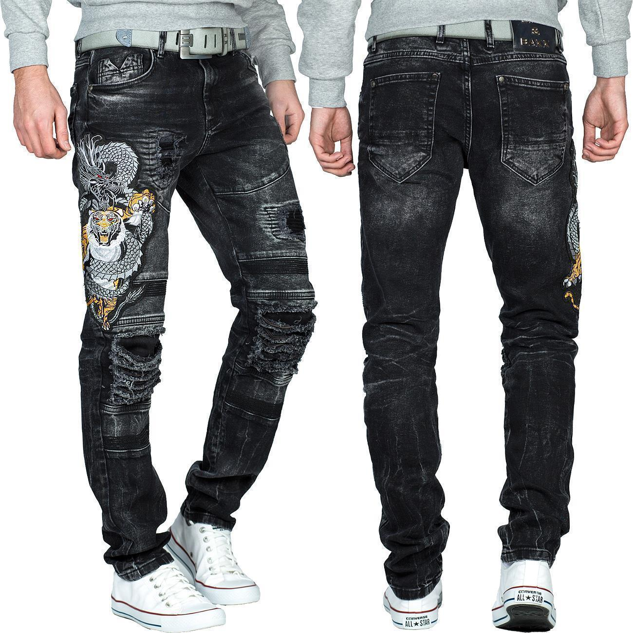 Cipo-amp-Baxx-Uomo-Jeans-Pantaloni-ricamate-Biker-Style-streetwear-nervature-pattern-Dope miniatura 2
