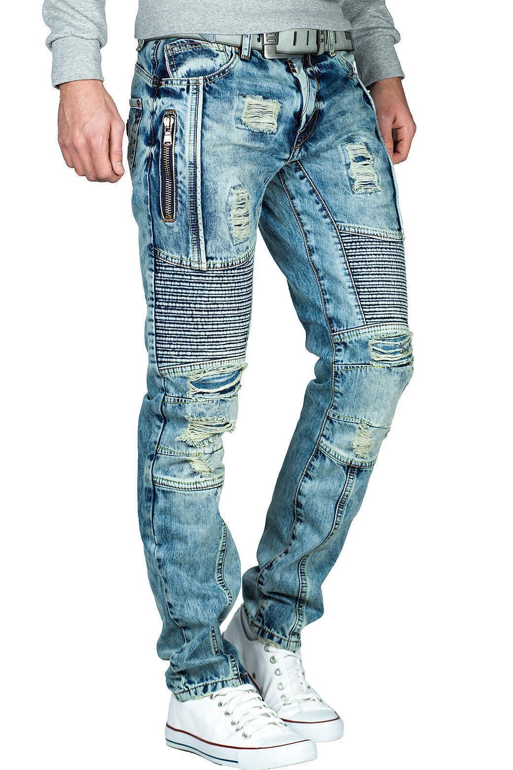 Cipo-amp-Baxx-Uomo-Jeans-Pantaloni-ricamate-Biker-Style-streetwear-nervature-pattern-Dope miniatura 42