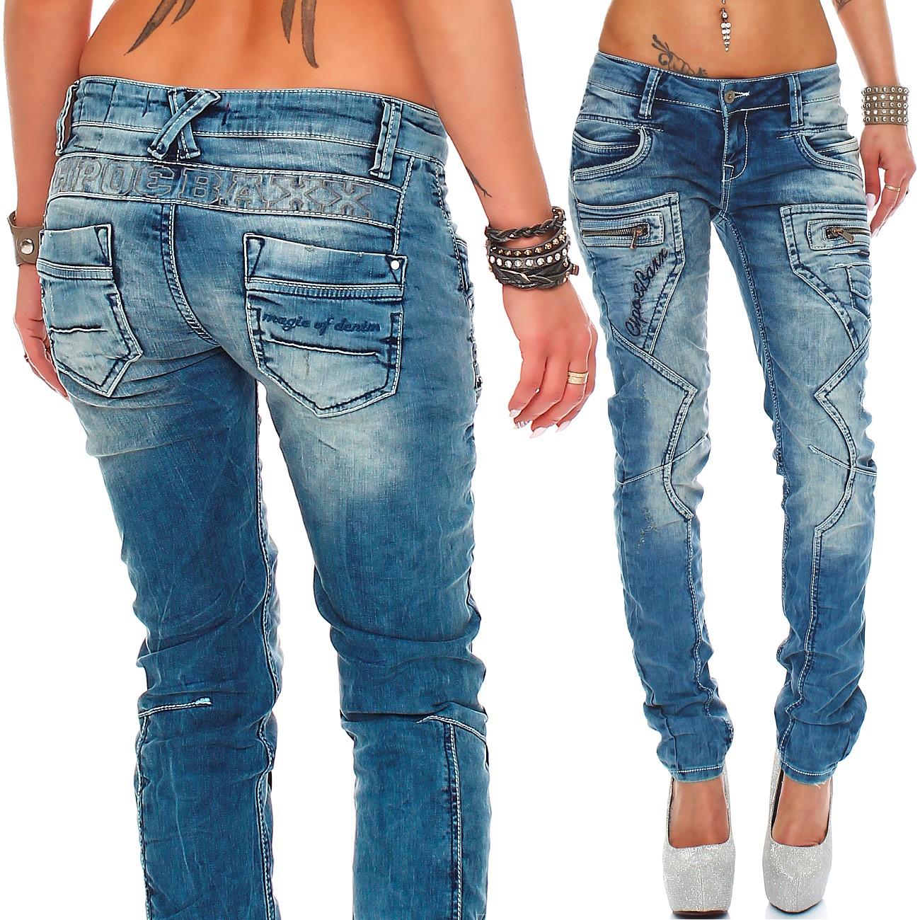 Verschiedene-Cipo-amp-Baxx-Damen-Jeans-Hosen-Slim-Fit-Regular-Fit-Streetwear Indexbild 61