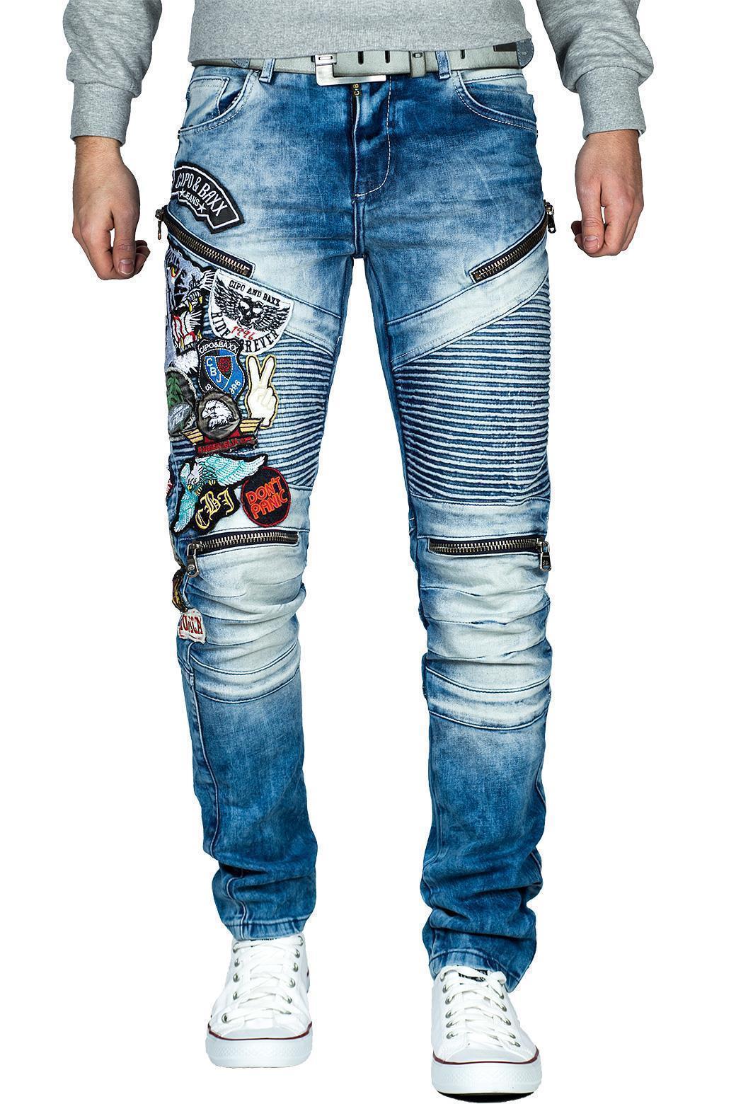 Cipo-amp-Baxx-Uomo-Jeans-Pantaloni-ricamate-Biker-Style-streetwear-nervature-pattern-Dope miniatura 34
