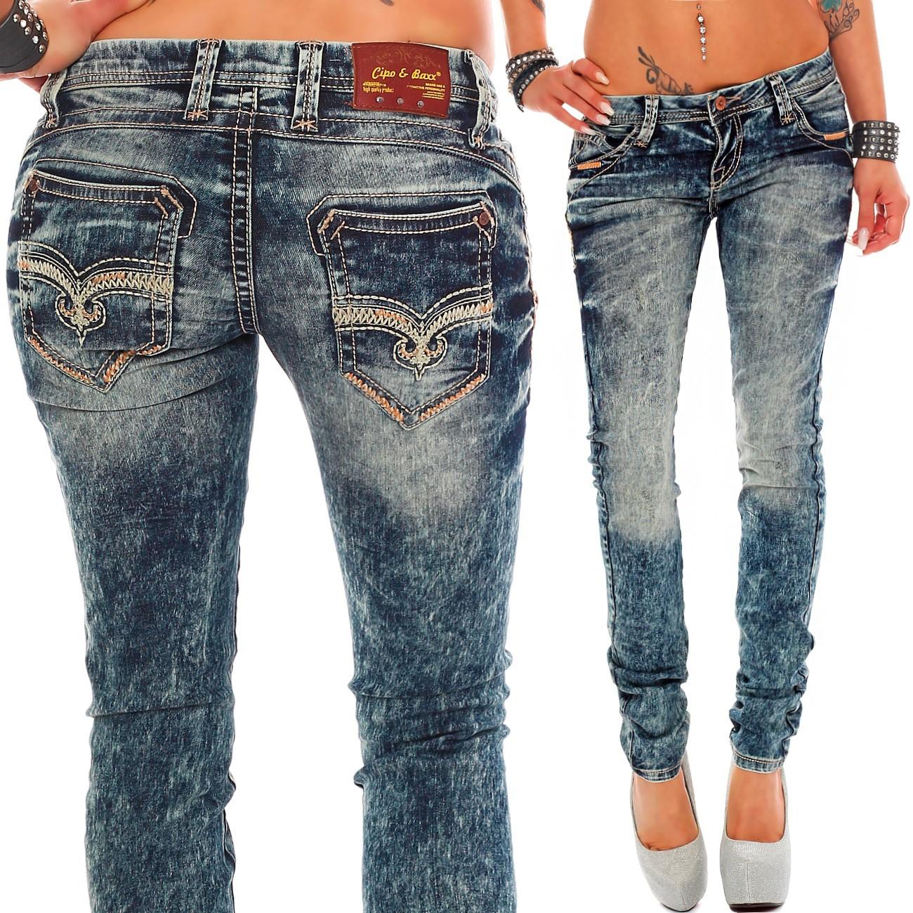 Verschiedene-Cipo-amp-Baxx-Damen-Jeans-Hosen-Slim-Fit-Regular-Fit-Streetwear Indexbild 6