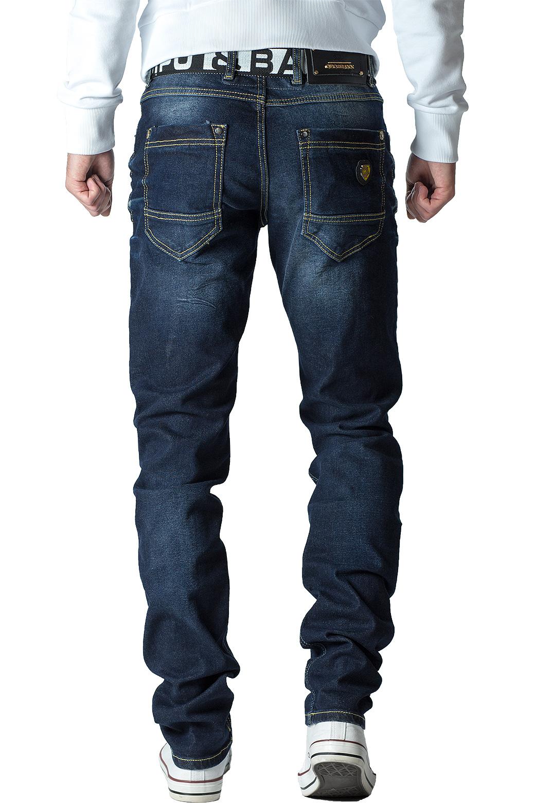 Cipo-amp-Baxx-Uomo-Jeans-Pantaloni-ricamate-Biker-Style-streetwear-nervature-pattern-Dope miniatura 30