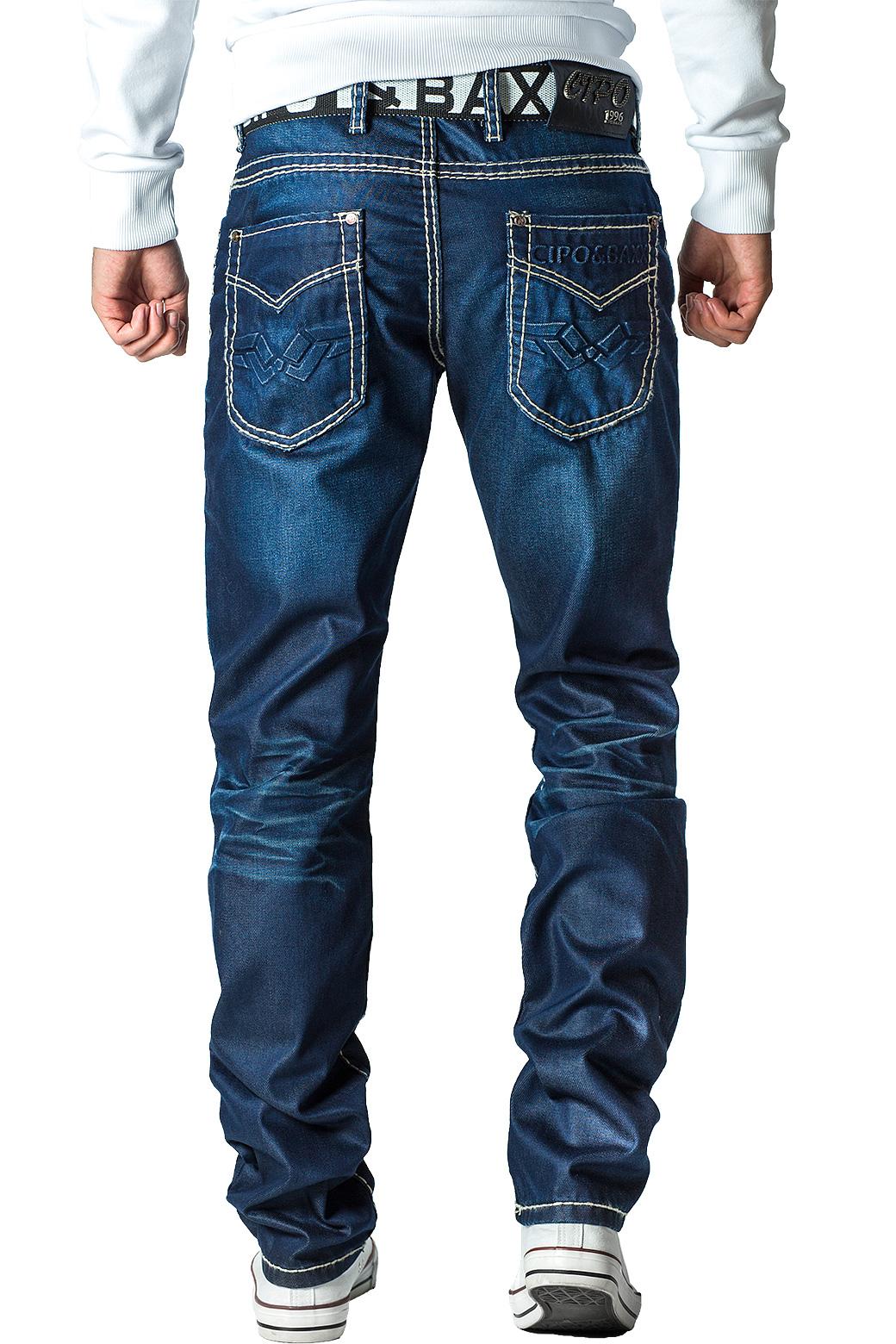 Cipo-amp-Baxx-Uomo-Jeans-Pantaloni-ricamate-Biker-Style-streetwear-nervature-pattern-Dope miniatura 15